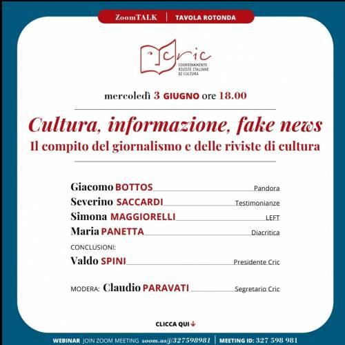 CULTURA, INFORMAZIONE, FAKE NEWS – 03/06/2020 ore 18.00